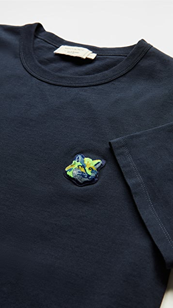 Maison Kitsune T-Shirt with Neon Fox Head Patch