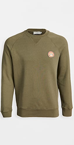 Maison Kitsune - Crew Neck Sweatshirt with Flower Fox Patch