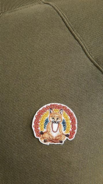 Maison Kitsune Crew Neck Sweatshirt with Flower Fox Patch
