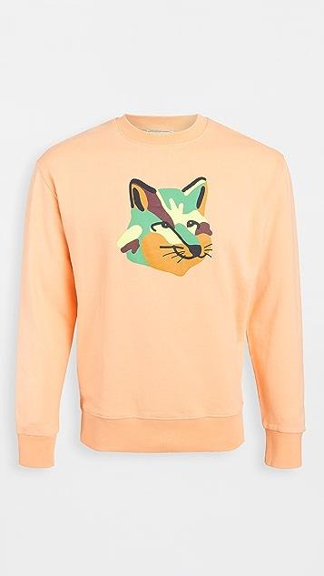 Maison Kitsune Crew Neck Sweatshirt with Neon Fox Print