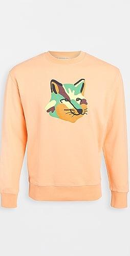 Maison Kitsune - Crew Neck Sweatshirt with Neon Fox Print