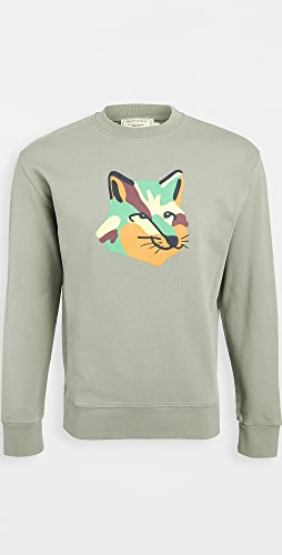 Maison Kitsune - Crew Neck Sweatshirt with Neon Fox Print