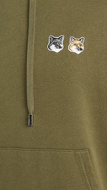 Maison Kitsune Pullover Hoodie W/ Double Fox Head Patch