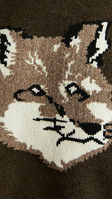 Maison Kitsune Wool Fox Head Crew Neck Sweater