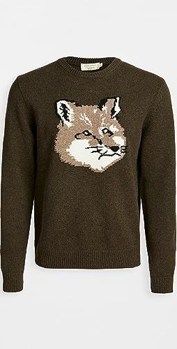 Maison Kitsune - Wool Fox Head Crew Neck Sweater