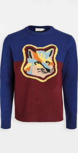 Maison Kitsune - Wool Colorblock Fox Head Crew Neck Sweater