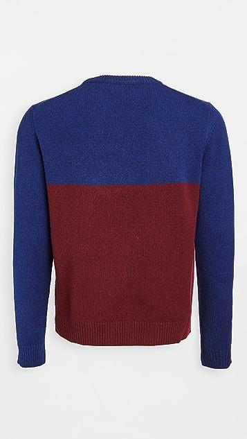 Maison Kitsune Wool Colorblock Fox Head Crew Neck Sweater
