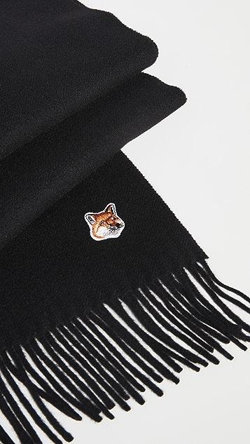 Maison Kitsune Small Fox Head Wool Scarf