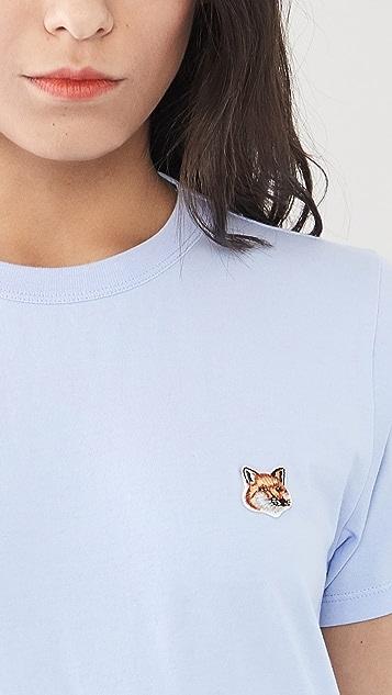 Maison Kitsune 狐狸头贴片经典 T 恤