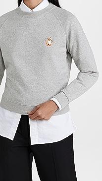 메종 키츠네 맨투맨 Maison Kitsune All Right Fox Patch Vintage Sweatshirt,Grey Melange