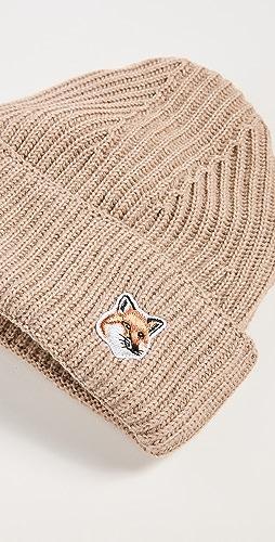 Maison Kitsune - Fox Head Patch Ribbed Beanie