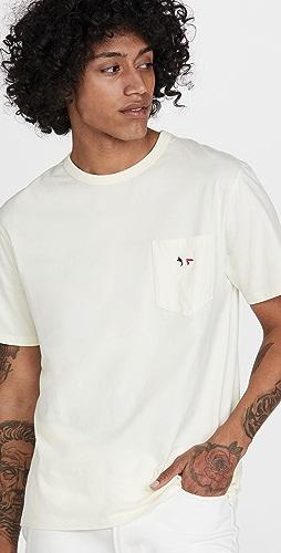 Maison Kitsune - Tricolor Fox Patch Classic Pocket T-Shirt