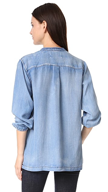 Scotch & Soda/Maison Scotch Chambray Top With Lace Closure