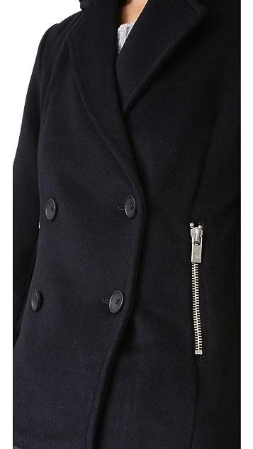 Scotch & Soda/Maison Scotch Wool Pea Coat with Zip Pockets