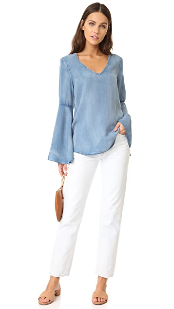 Scotch & Soda/Maison Scotch Bell Sleeve Chambray Blouse