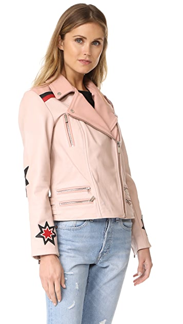 Scotch & Soda/Maison Scotch Leather Jacket with Patches