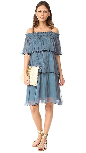 Scotch & Soda/Maison Scotch Pleated Off Shoulder Dress