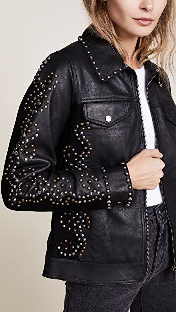 Scotch & Soda/Maison Scotch Studded Leather Jacket