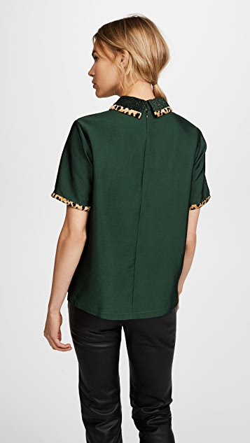 Scotch & Soda/Maison Scotch Short Sleeve Top with Contrast Collar