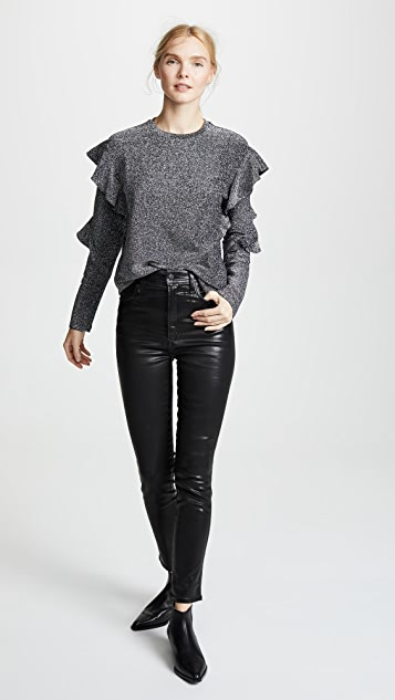 Scotch & Soda/Maison Scotch Ruffled Long Sleeve Metallic Top