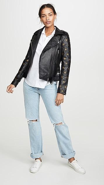 Scotch & Soda/Maison Scotch Leather Embroidered Star Sleeve Biker Jacket