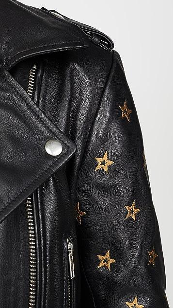 Scotch & Soda/Maison Scotch 皮刺绣星星衣袖机车夹克