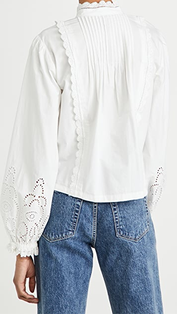 Scotch & Soda Crispy Cotton Top With Broderie Anglaise Details