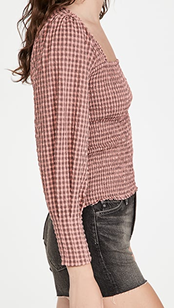 Scotch & Soda Seersucker Top With Smock Details And Square Neck
