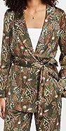 Scotch & Soda Printed Belted Single Breasted Blazer
