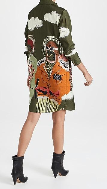 Scotch & Soda 'Amelia' 印花纽扣衬衫式连衣裙