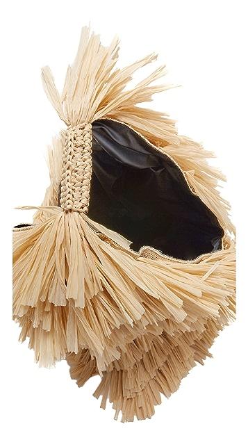 MM6 Straw Hobo Bag