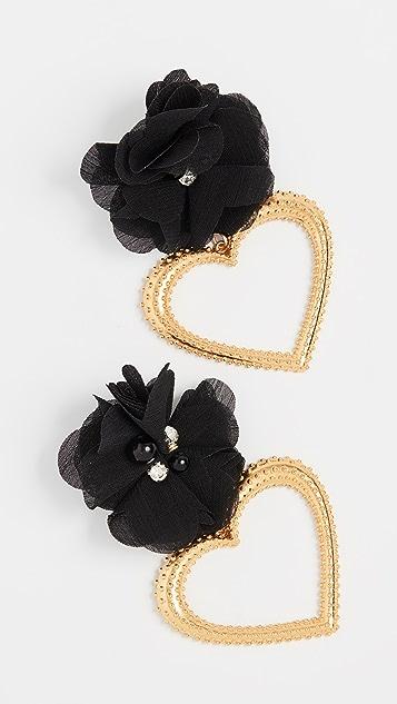 Mallarino Черные серьги Margot с цветами