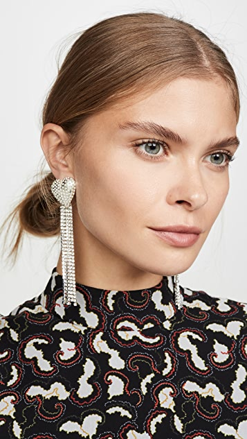Mallarino Marguerite Rhinestone Heart Drop Earrings