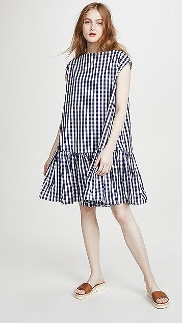 Mansur Gavriel Gingham Ruched Mini Dress