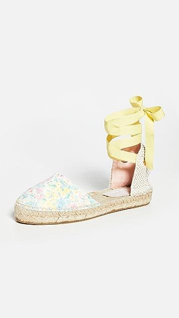 Manebi x LoveShackFancy Valencia 麻编坡跟鞋