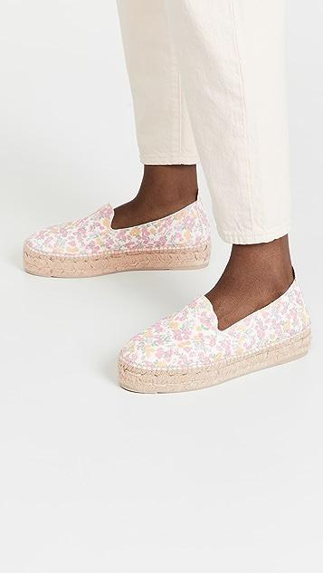 Manebi x LoveShackFancy 厚底麻编坡跟鞋