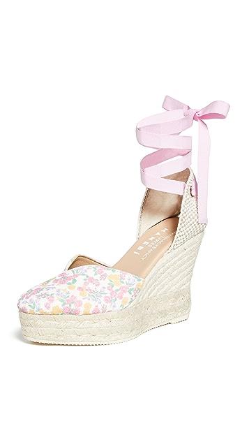 Manebi x LoveShackFancy 心形坡跟麻编鞋