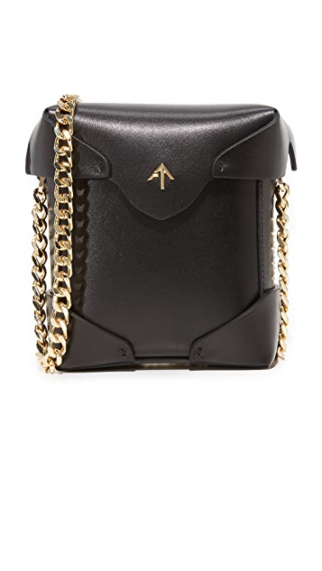 MANU Atelier Micro Pristine Box Bag with Gold Chain - Black