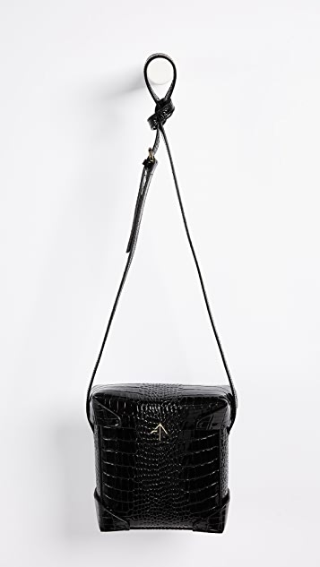 MANU Atelier Mini Pristine Croc Embossed Box Bag