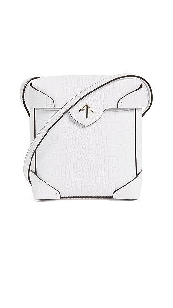MANU Atelier Mini Pristine Croc Embossed Box Bag