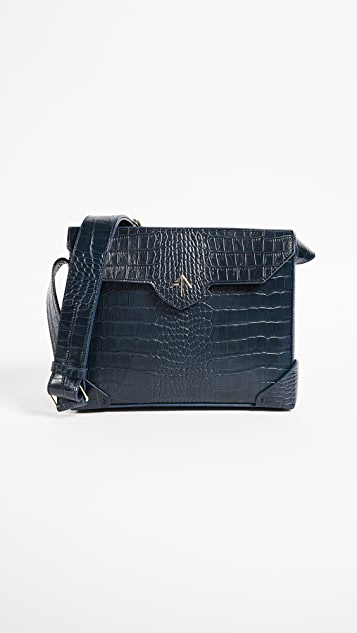 MANU Atelier Bold Croc Embossed Shoulder Bag