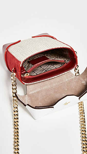 MANU Atelier Micro Pristine Combo Tweed Box Bag with Gold Chain