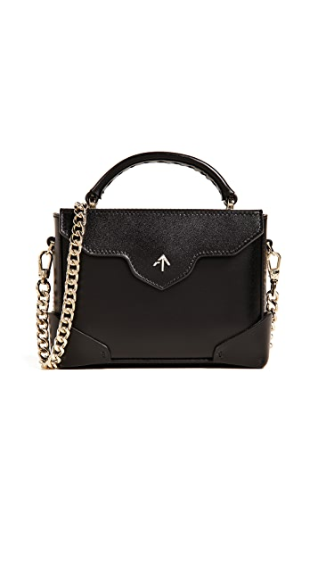 MANU Atelier Micro Bold Top Handle Bag with Gold Chain