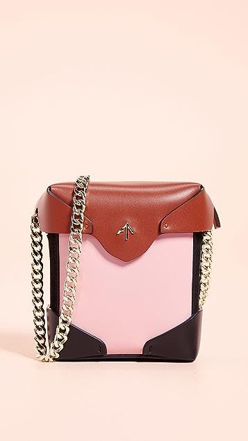 MANU Atelier Micro Pristine Box Bag with Gold Chain