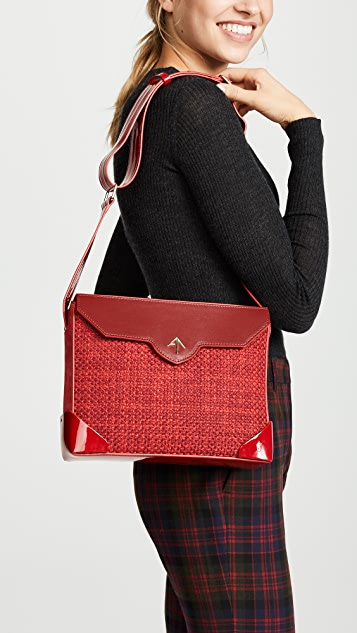 MANU Atelier Bold Tweed Combo Shoulder Bag