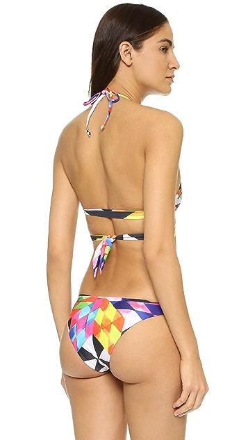 Mara Hoffman Fractals Red Wrap Around Bikini Top