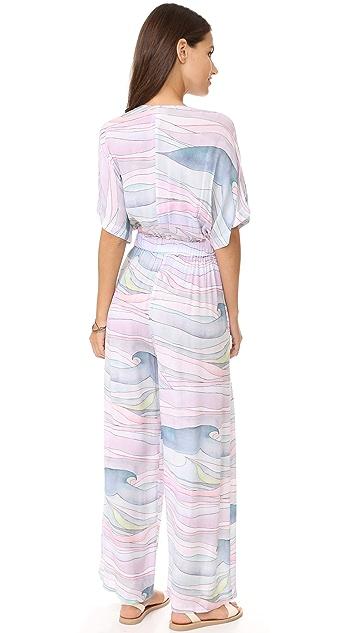 Mara Hoffman Crinkle Crepe Tie Front Jumpsuit