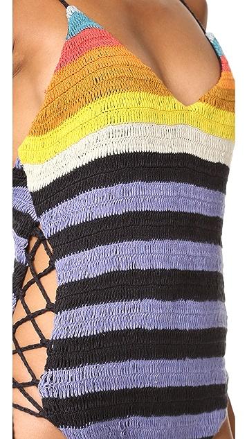Mara Hoffman Crochet Lace Up Side One Piece