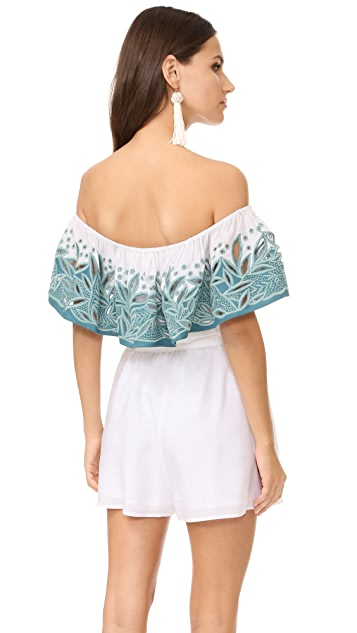 Mara Hoffman Embroidered Off Shoulder Romper