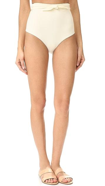 Mara Hoffman Tie Front High Waist Bikini Bottoms